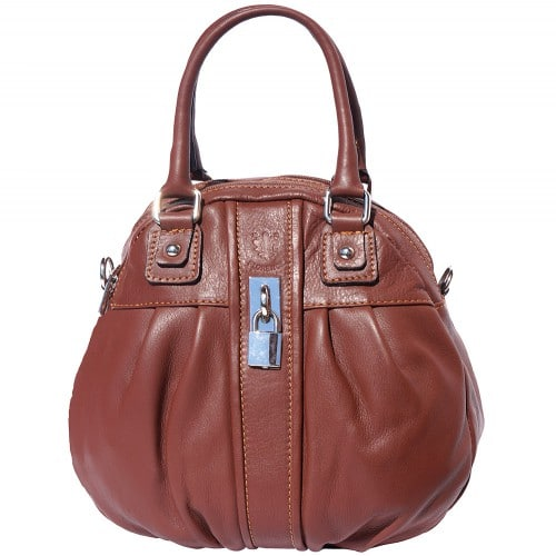 HandBag Clotilde in genuine leather with long strap Colour brown for women