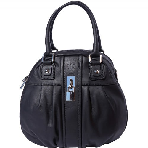 HandBag Clotilde in genuine leather with long strap Colour black for women