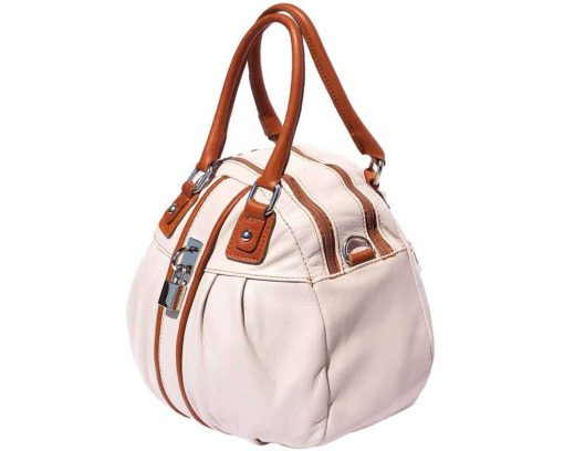 white tan bag in natural leather Consuelo for women