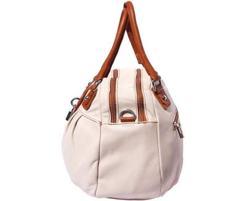 white tan bag in genuine leather Consuelo for woman