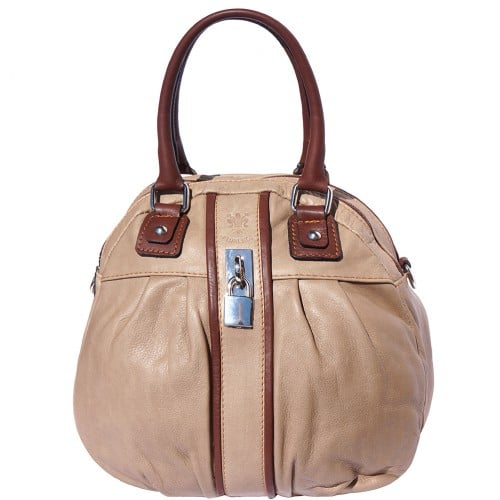 HandBag Clotilde in genuine leather with long strap Colour Light taupe Brown for women