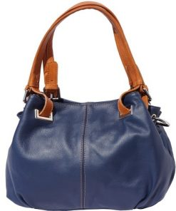 8655TOPM11-shoulder bag in genuine leather Glenda colour dark blue tan for women
