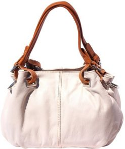 8655TOPM11-shoulder bag in genuine leather Glenda colour beige tan for women