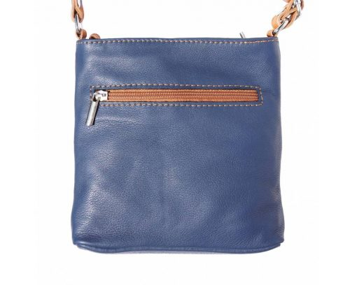 blue tan cross body bag in leather Antoaneta for women