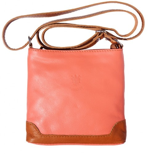 mini cross body bag Letizia in genuine leather colour salmon pink tan for women