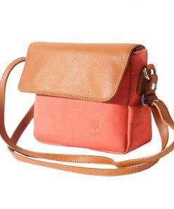 cross body bag in genuine leather Leila colour salmon pink tan for women