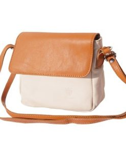 cross body bag in genuine leather Leila colour beige tan for women