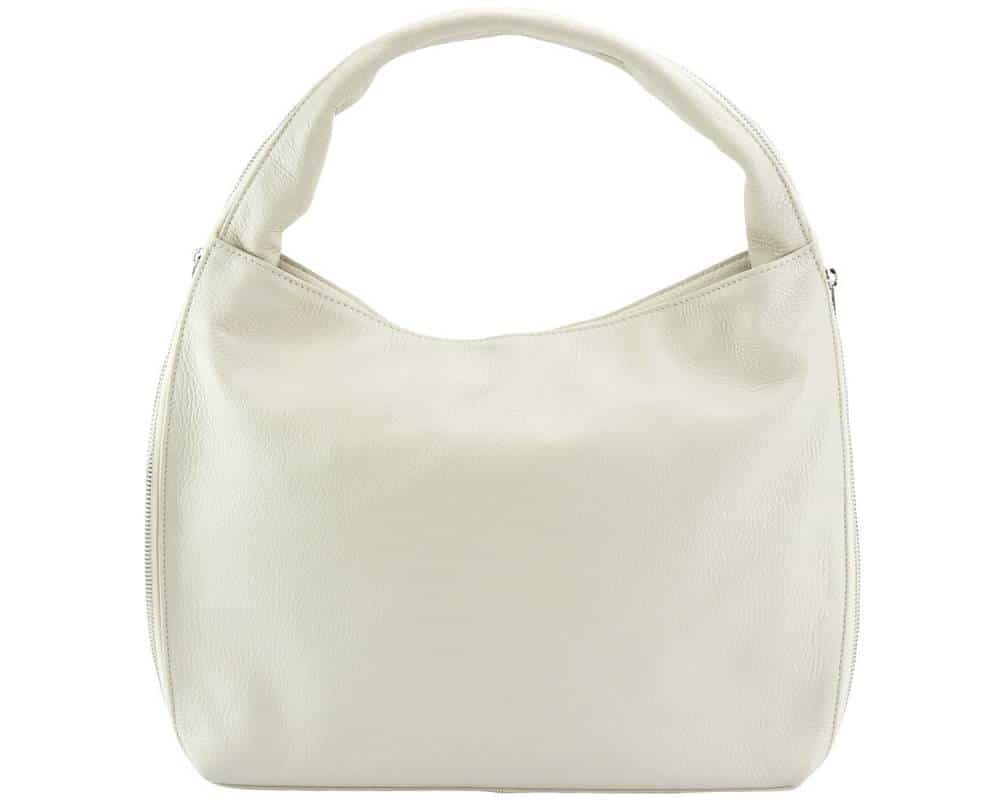 white bag in genuine leather from italy masha