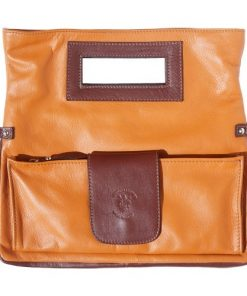 buy italian Clutch bag of genuine leather Bibiana Colour tan dark brown for woman
