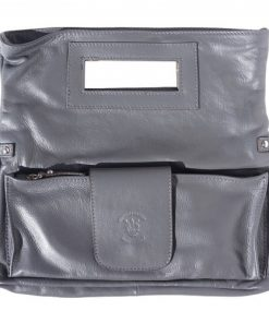 buy italian Clutch bag of genuine leather Bibiana Colour dark grey for women
