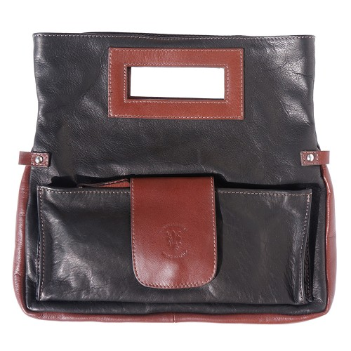 buy italian Clutch bag of genuine leather Bibiana Colour Black Brown for woman
