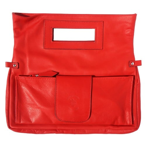 buy italian Clutch bag of genuine leather Bibiana Colour red for woman