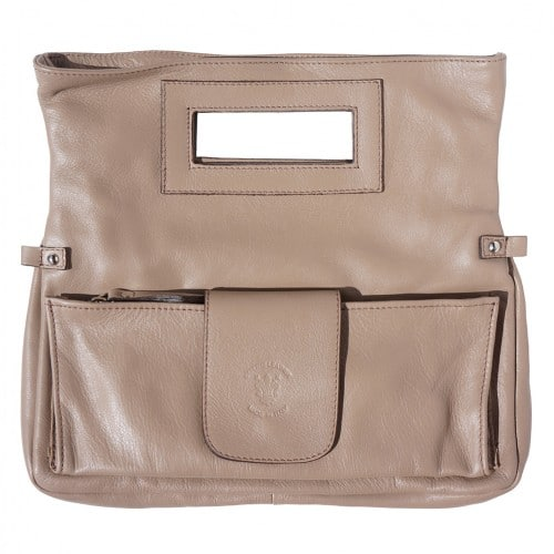buy italian Clutch bag of genuine leather Bibiana Colour light taupe for women