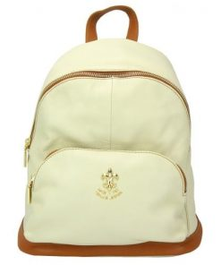 beige tan backpack in genuine leather Concetta woman
