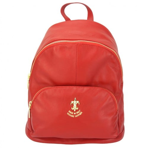 red backpack in genuine leather Concetta for women