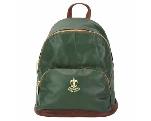dark green backpack Francesco in genuine leather from italy for man