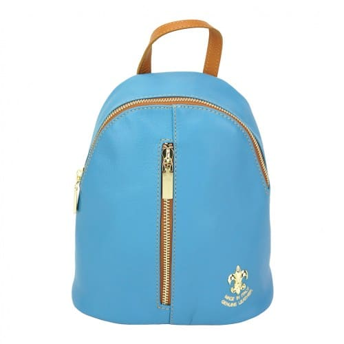 cyan tan backpack in leather Elena for woman