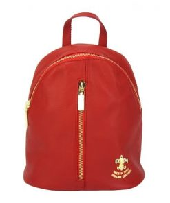 light red backpack Elena woman