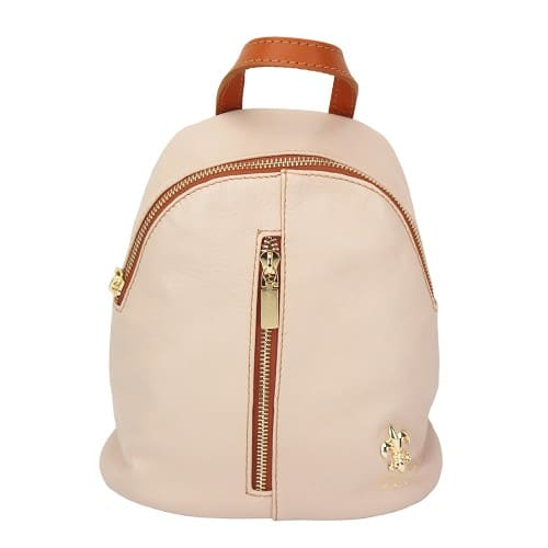 pink tan backpack in leather Elena women
