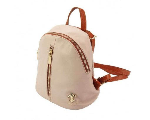 pink tan backpack bag Nadia women