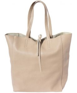 handbag shopping bag Godiva in genuine leather colour taupe for women