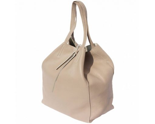 light taupe purse in leather rosalina woman