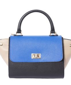 Bowler genuine leather handbag Fedele Colour taupe blue black for women