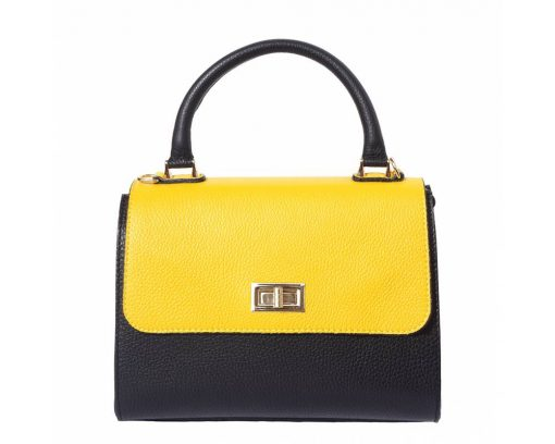 black yellow white handbag in natural rigid leather Maaijcke from italy for women