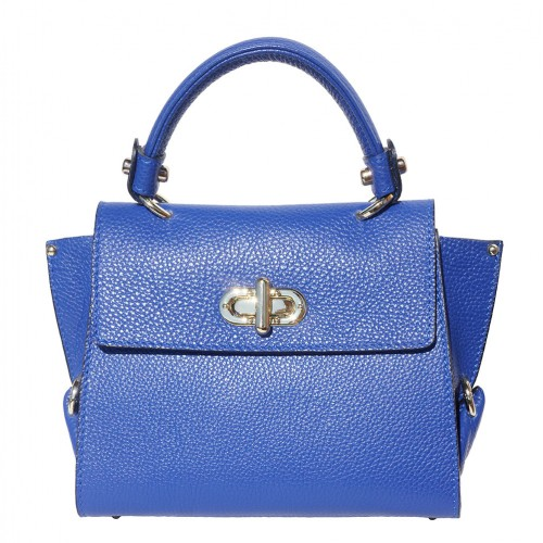 Single handle mini bag in genuine leather Eldora Colour electric blue for women