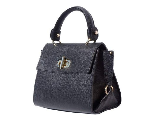 black handbag in rigid leather Augustina woman