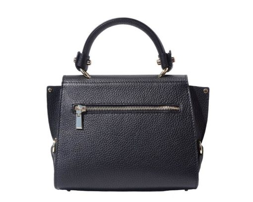 black handbag in natural leather Augustina woman