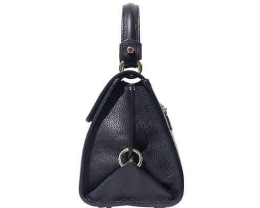 black handbag in genuine leather Augustina woman