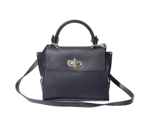 black handbag in leather Augustina women