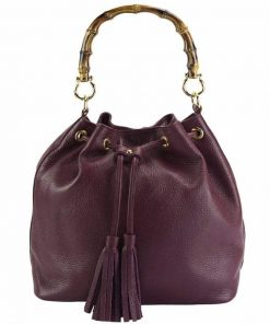 bordeaux bag with handle Bamboo of natural leather