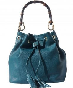 Bag Consolata in genuine leather and with wooden bamboo handle Colour Dark turquoise for women