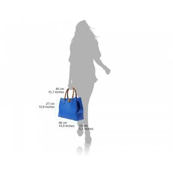 electric blue bamboo handle bag with lining in suede leather from genuine soft leather for women