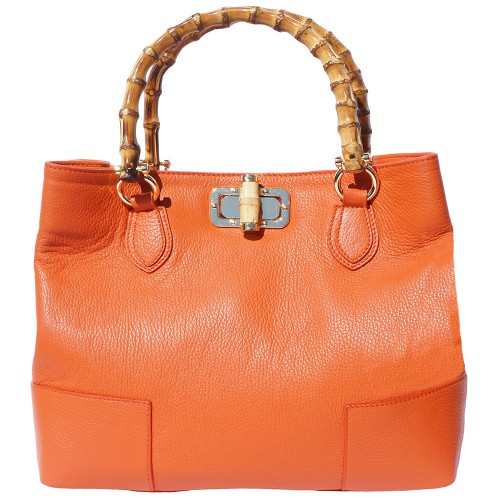 handbag in genuine leather Giona with wooden handle colour orange for women