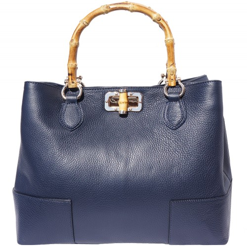 handbag in genuine leather Giona with wooden handle colour dark blue for women