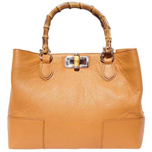 handbag in genuine leather Giona with wooden handle colour tan for women