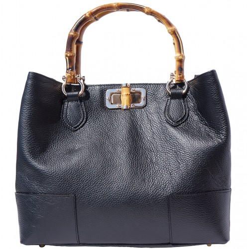handbag in genuine leather Giona with wooden handle colour black for women