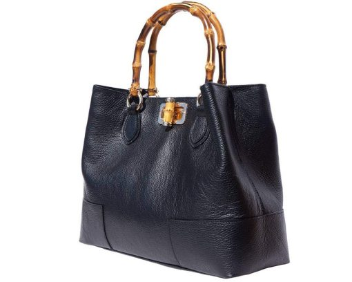 bamboo handle bag with lining in suede leather from genuine soft leather for women