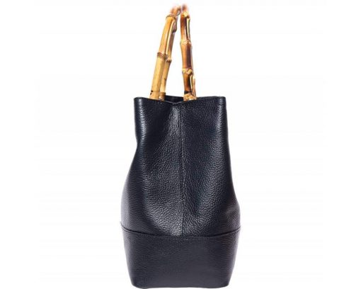 bamboo handle bag with lining in suede leather from genuine leather for women