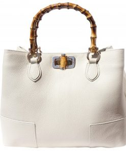 handbag in genuine leather Giona with wooden handle colour beige for women