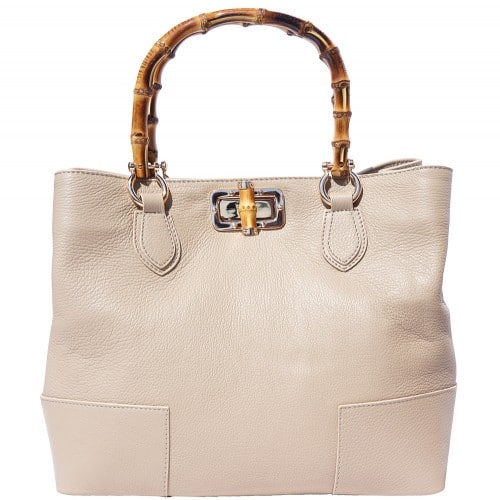 handbag in genuine leather Giona with wooden handle colour light taupe for women