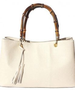 Bamboo handle genuine leather handbag Geltrude Colour beige for women