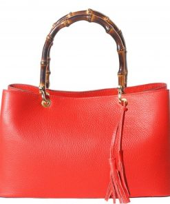 Bamboo handle genuine leather handbag Geltrude Colour red for women