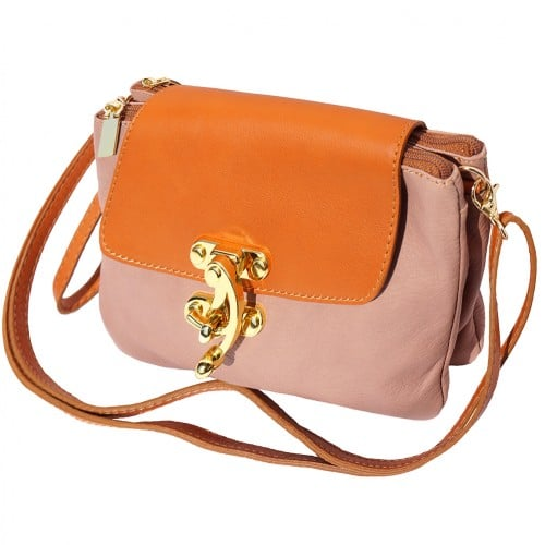 Cross body bag Viridiana in genuine leather colour pink tan for women