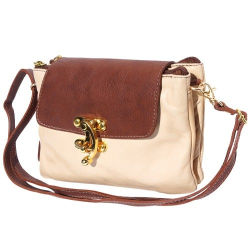 Cross body bag Viridiana in genuine leather colour beige brown for women