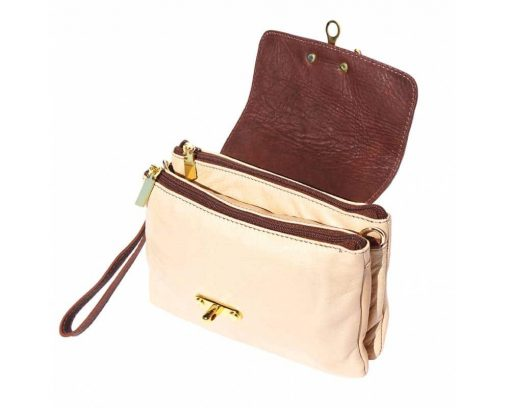beige brown clutch in leather Zamfira for woman