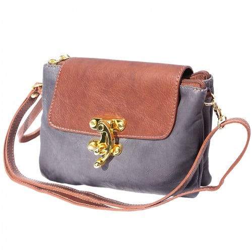 Cross body bag Viridiana in genuine leather colour grey brown for women